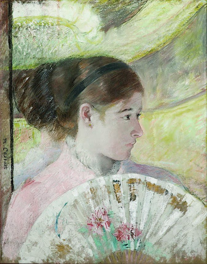 Young lady in a loge gazing to right, 1880 by Mary Cassatt (1844-1926)  Philadelphia Museum of Art, Etats-Unis