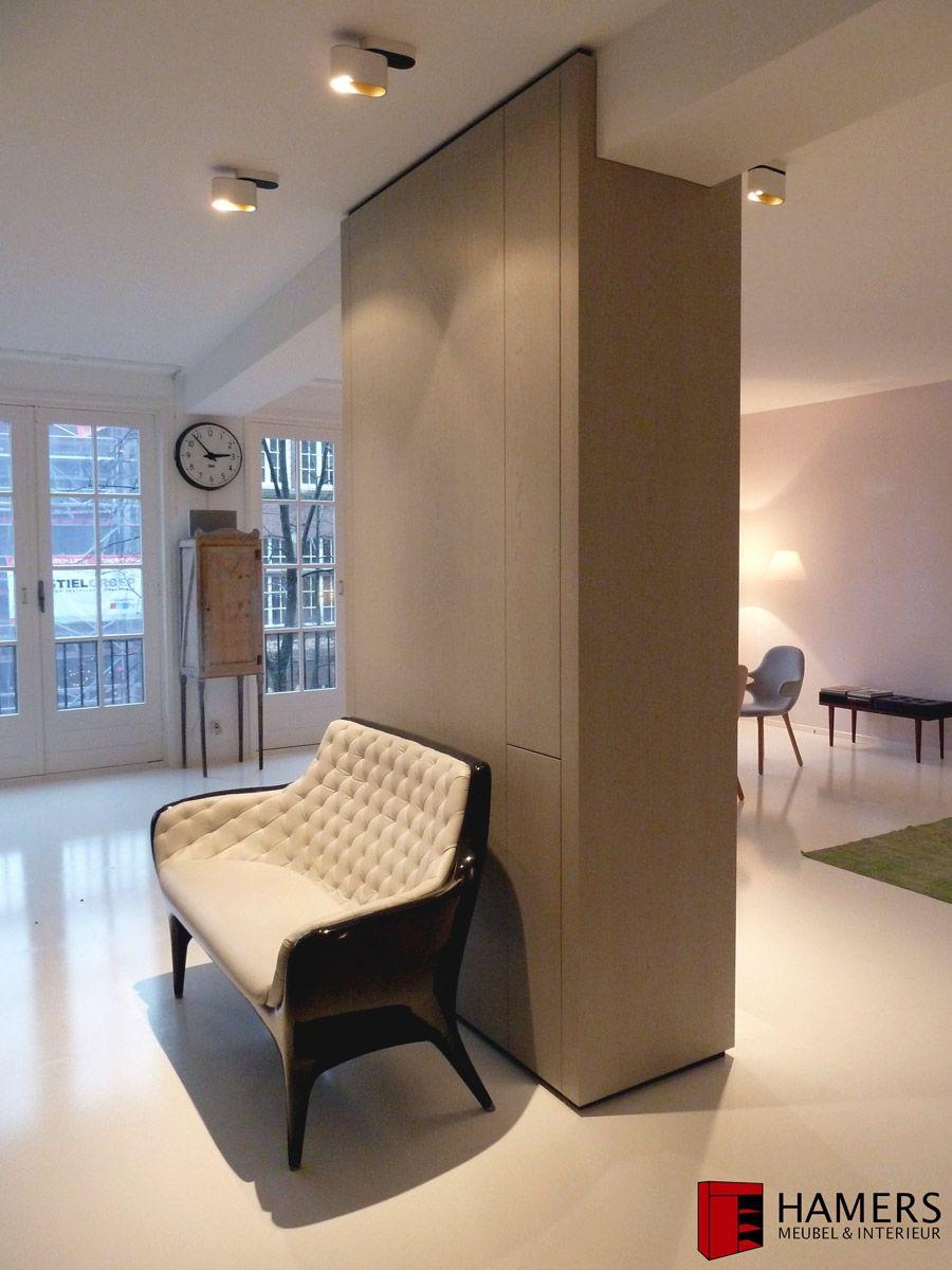 Custom Made Pillar Tv And Beamer Integrated Oak Veneer  # Meuble Tv Amsterdam