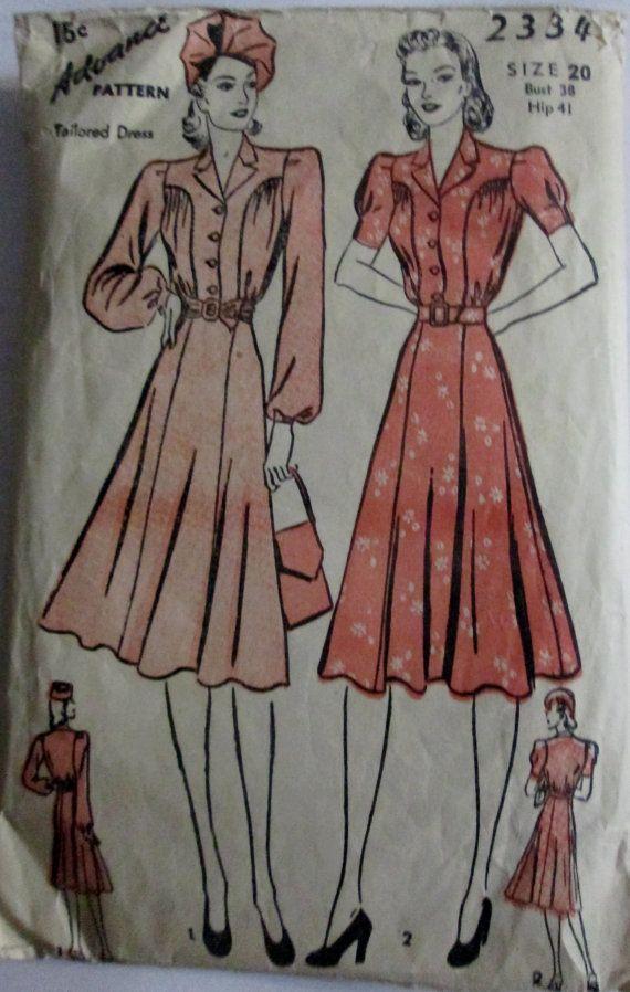 Vintage 1940s Advance Pattern No. 2950 For Misses 2 PIECE