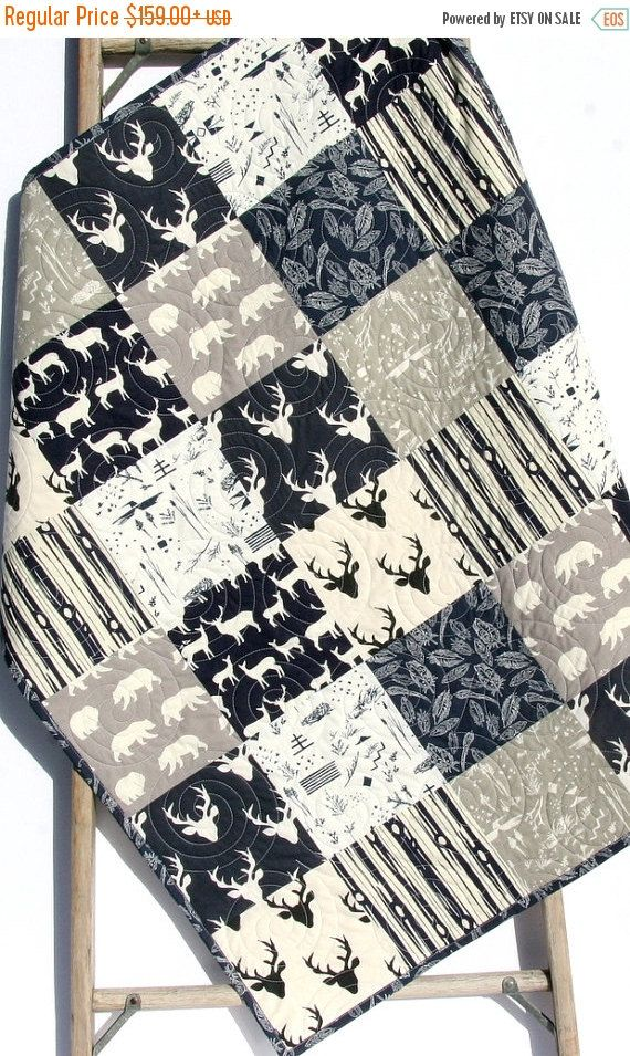 Baby Quilt Boy Deer Southwest Stag Woodland Birch Forest Bears Feathers Navy Blue Grey Modern Crib Bedding Toddler Bed Rustic Nursery By
