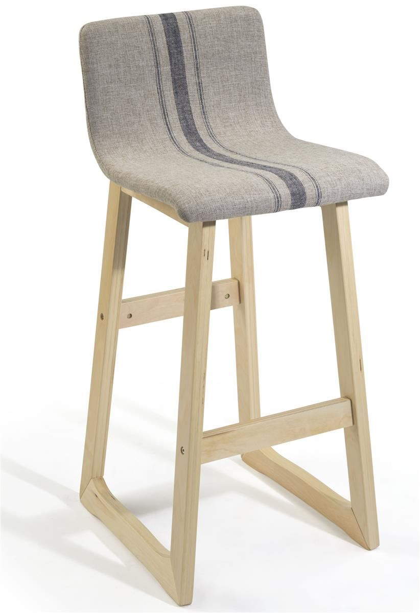 28 Bar Height Stool W Fabric Seat Backrest Wood Frame Tan
