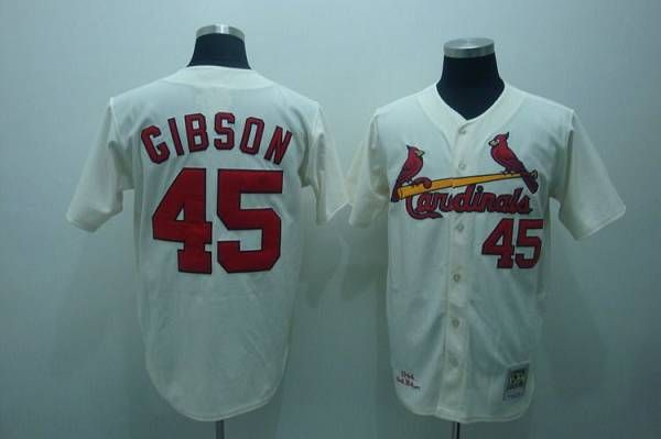 151dd9cc8d3 ireland mitchell and ness cardinals 45 bob gibson embroidered cream throwback  mlb jersey f4373 8f71a