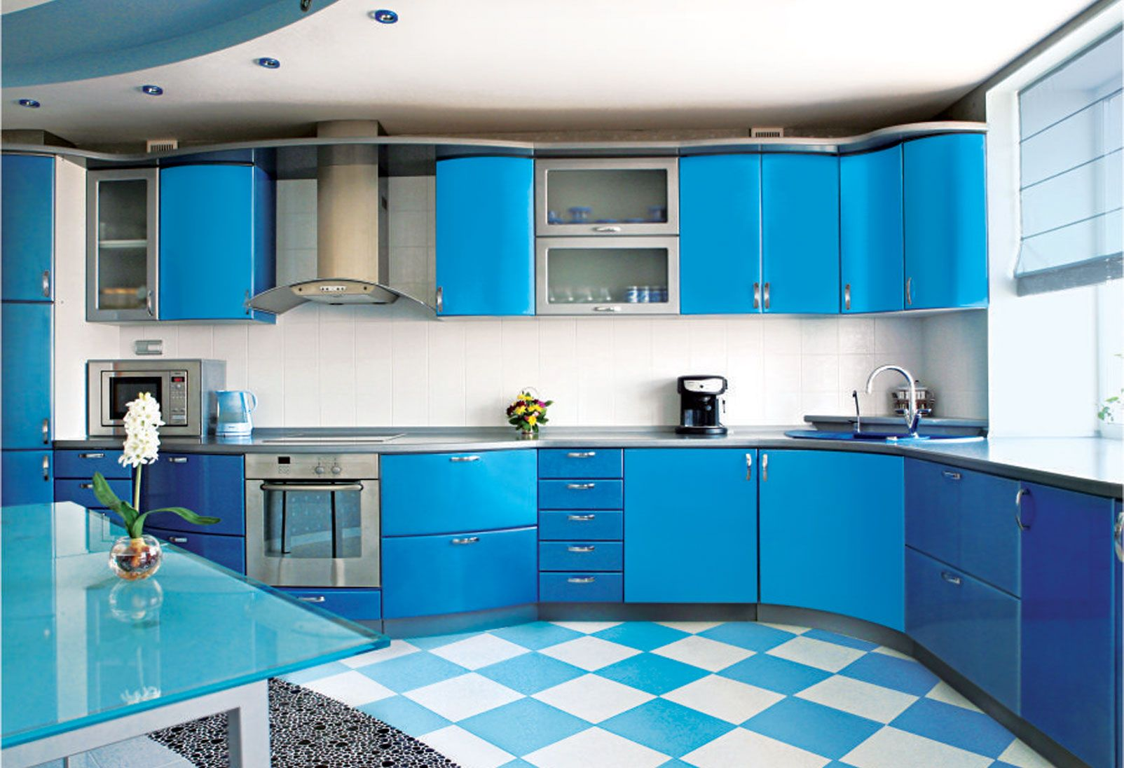 Kitchen Island Blue White Kitchen Coloring With L Shape Design Ideas ...