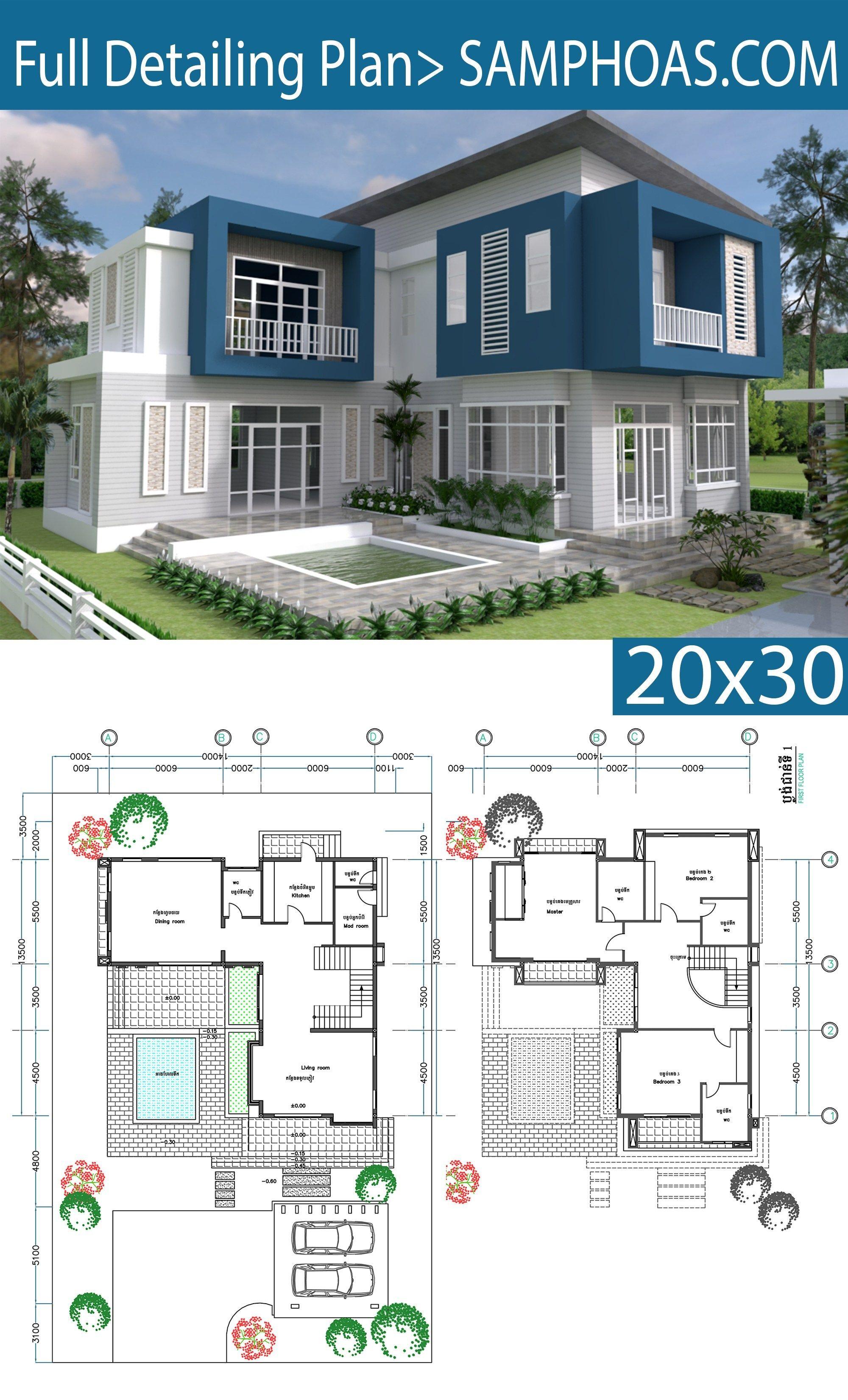 3 Bedrooms Modern Home Plan 14 13 5m Samphoas Plan Modern House Plans House Plans Modern House Design