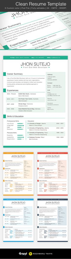 Free Clean Resume Template   Colors  Cleaning