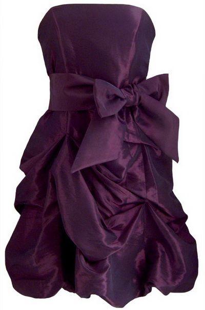 Purple Strapless Ruffled Skirt Short Purple Prom Dresses