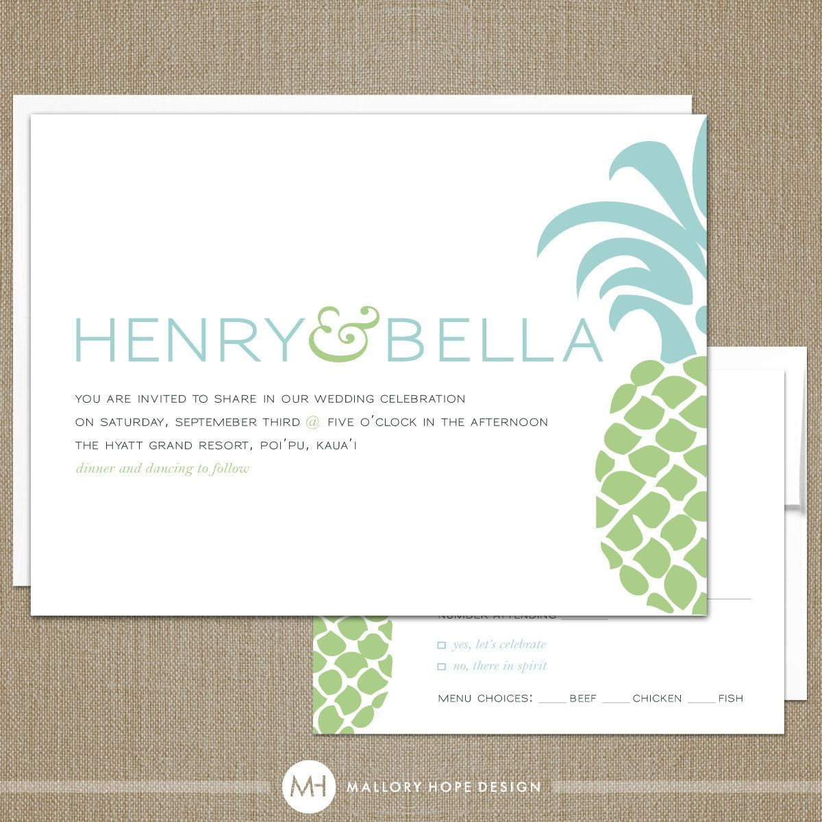 Tropical Pineapple Wedding Invitation and RSVP