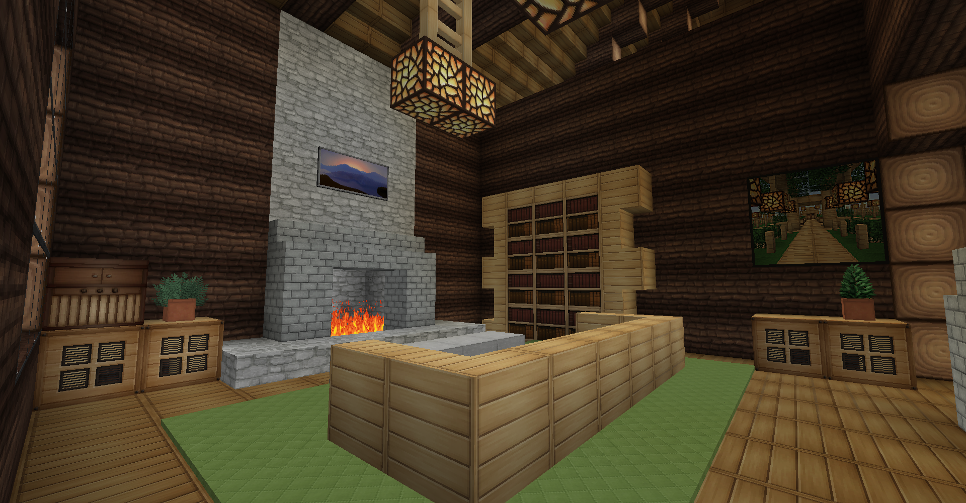 Minecraft Survival Log Cabin Interior Living Room Minecraft Cabin Minecraft House Designs Cabin Interiors