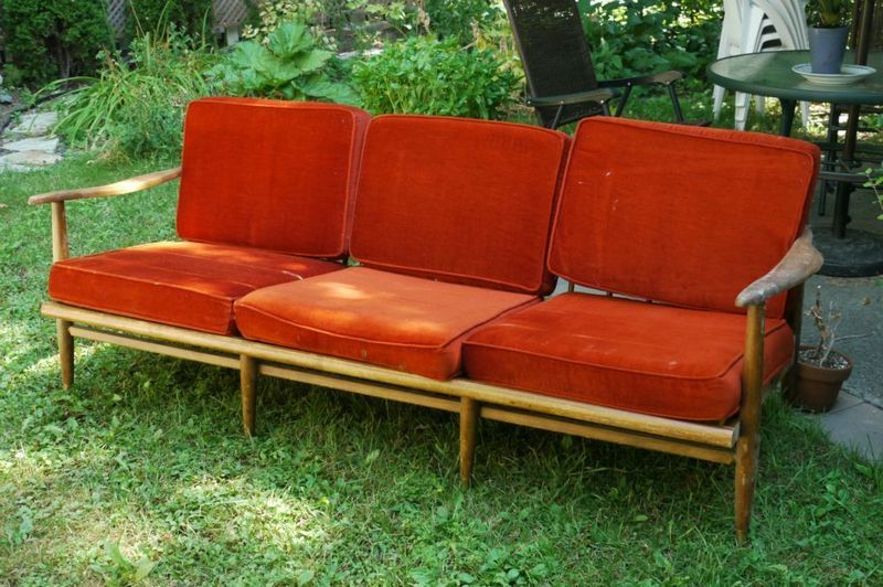 Midcentury Teak Sofa And Lounge Chair With Orange Cushions On Kijiji Montreal Teak Sofa Orange Cushions Outdoor Sofa