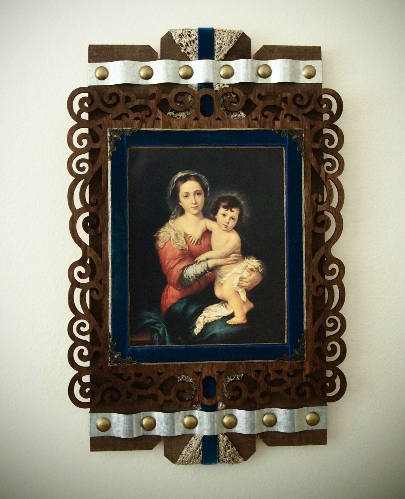 Murillous virgin and child mixed media rustic wall art catholic