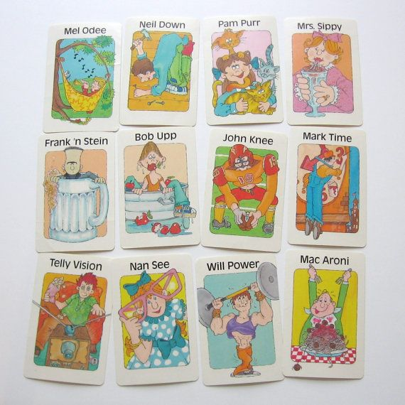 Set Of 21 Super Corny Characters Old Maid Game Cards With Etsy Corny Silly Jokes Card Games