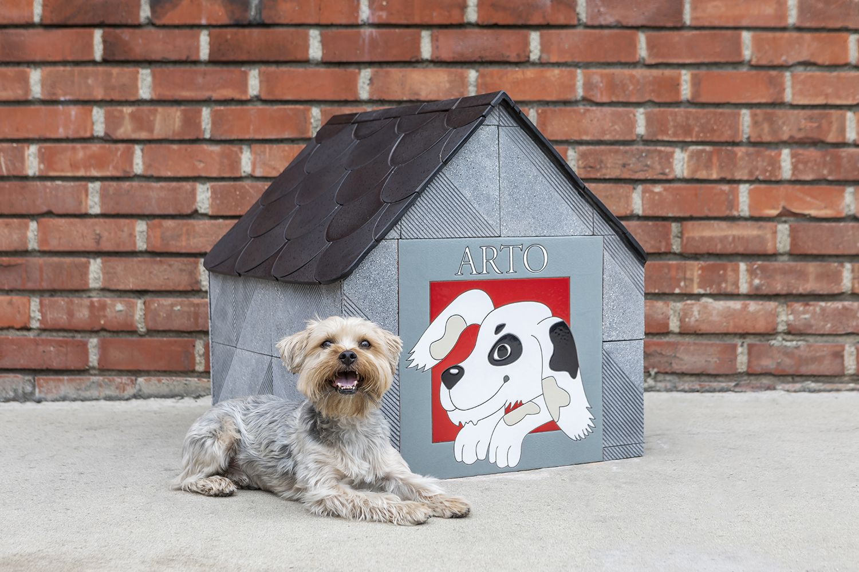 Happy Dog Arto Dog Houses Black Ceramic Tiles Handcrafted Tile