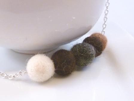 Felted wool necklace  small needle felt balls by ConstantBaubling, $23.00