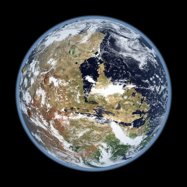 The Western Hemisphere of a Mars with oceans and an atmosphere like Earth's