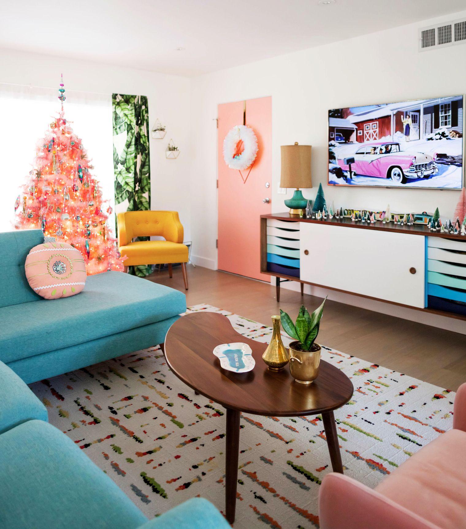 Mid Century Palm Springs Christmas Decor Jpeg Retro Living Rooms Mid Century Modern Living Room Mid Century Modern Living #retro #style #living #room