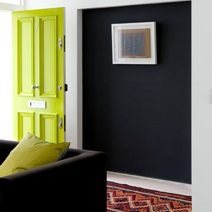 Dark Interior With Lime Green Door And White Trim, Pantone Lime Punch,  Bright Green