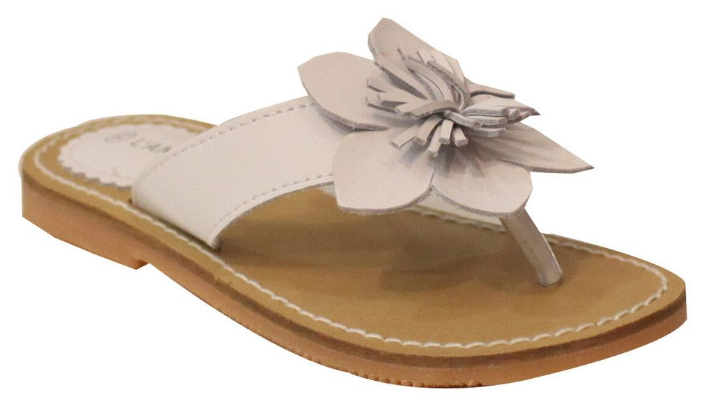 3538e095342806 L Amour Girls J720 White Flower Thong Sandals
