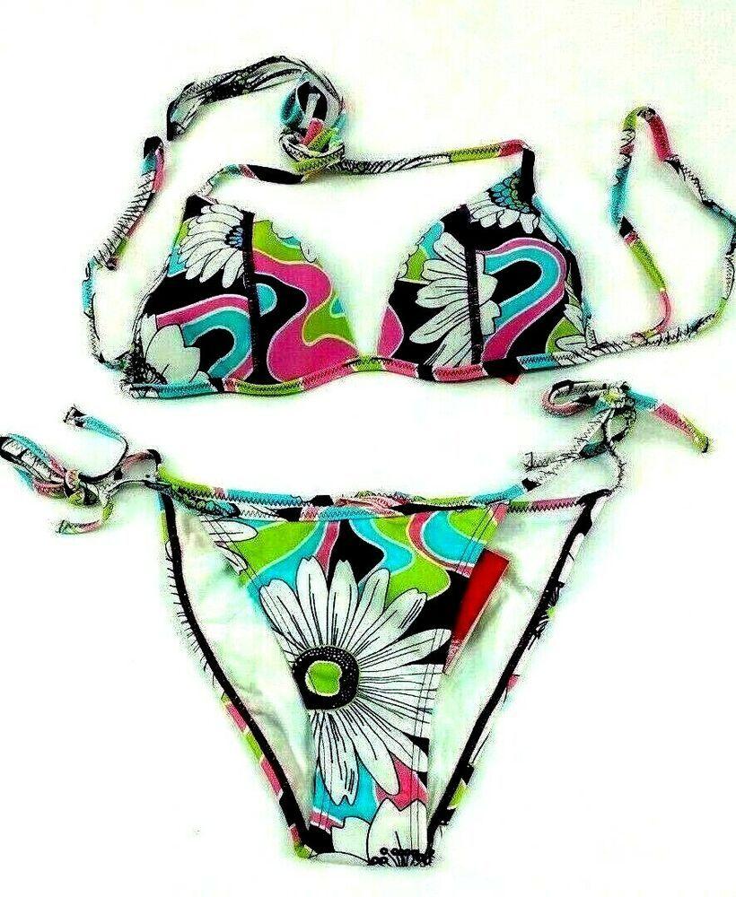 Aqua Doce Cheeky 2 pc Bikini Swimsuit Plaid Floral Removable Pin Brazil Size Med