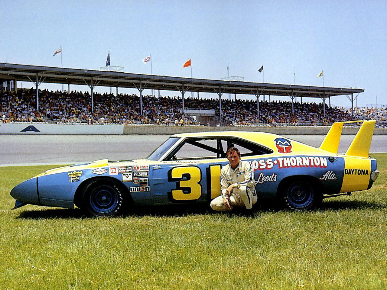 Nascar Driver Jim Vandiver And A 1969 Dodge Charger Daytona With