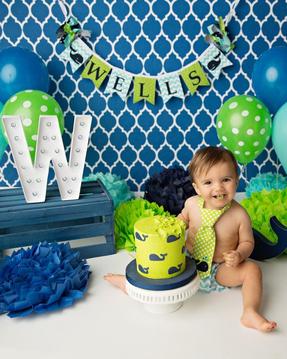 2688722320a4 WHALE BANNER   1st birthday boy   First Birthday Banner   1 Year Old  Birthday Boy   Cake smash boy