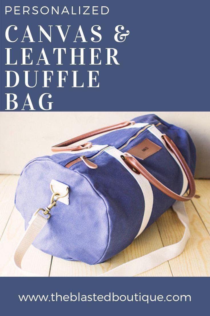 7491c2de3fd8 Personalized Canvas   Leather Duffle Bag