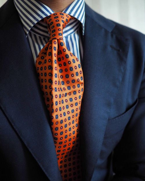8bd3b947a30d Navy Suit, Navy and White Striped Shirt, Orange with Blue and White Wide Tie