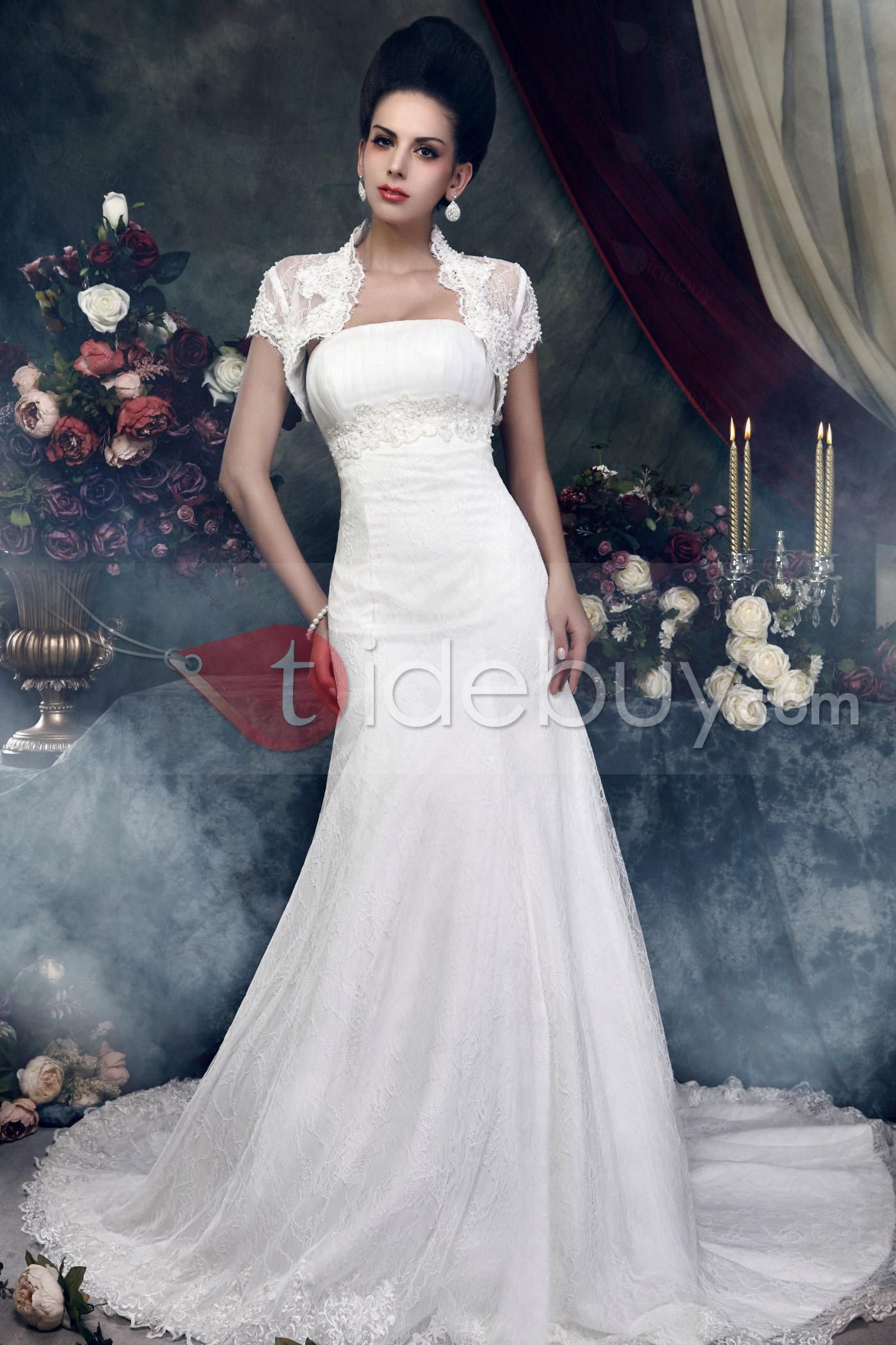 Fantastic strapless neckline aline cathedral train lace talineus
