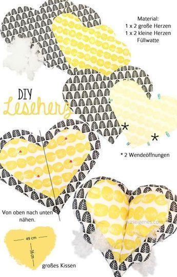 Leseherz Kissen | baby | Pinterest | Herzkissen, September und ...