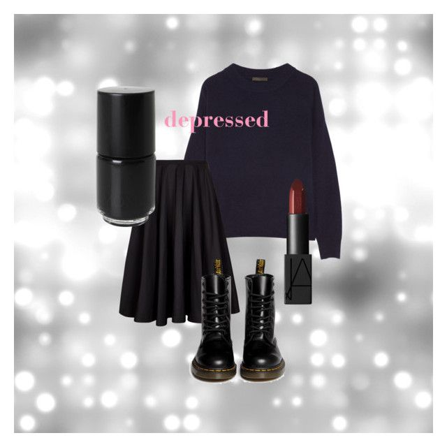 """Winter blues"" by linnettebar ❤ liked on Polyvore featuring The Row, Ted Baker, Monki, Dr. Martens, NARS Cosmetics, women's clothing, women, female, woman and misses"