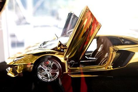 Carved Out Of A 500kg Solid Block Of Gold The Latest Lavish Creation From Italian Luxury Sports Car Maker Lambo Gold Lamborghini Super Cars Supercars For Sale