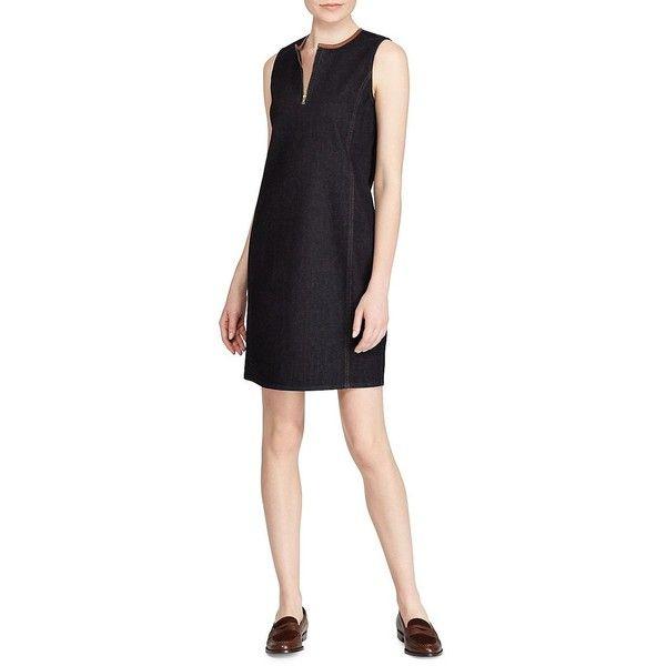 Lauren Ralph Lauren Women's Petite Dark-Wash Denim Dress ($101) ❤ liked on