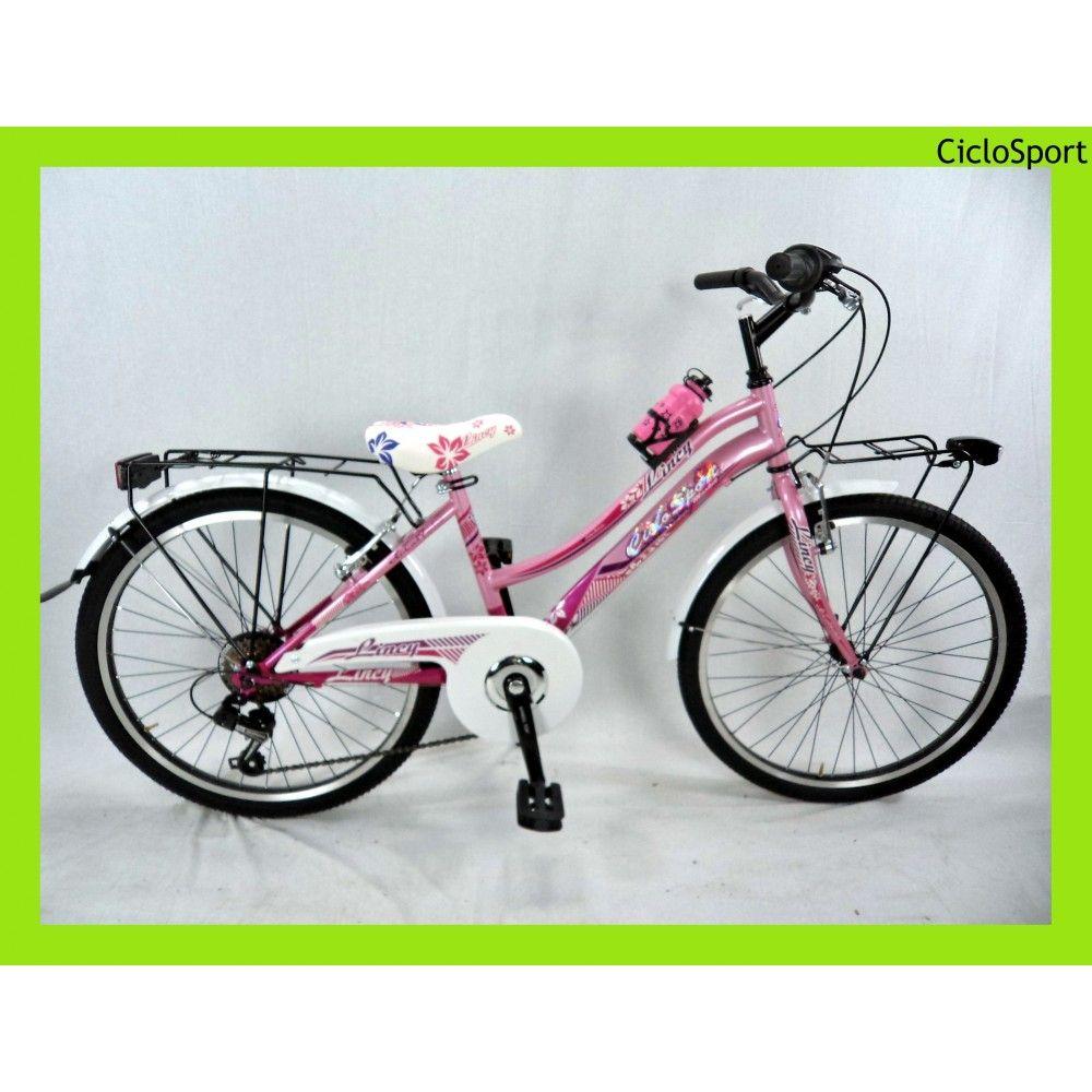 Bicicletta Ragazza Lincy 24 Ragazza Rosa Fucsia Con Cambio 6v Bici