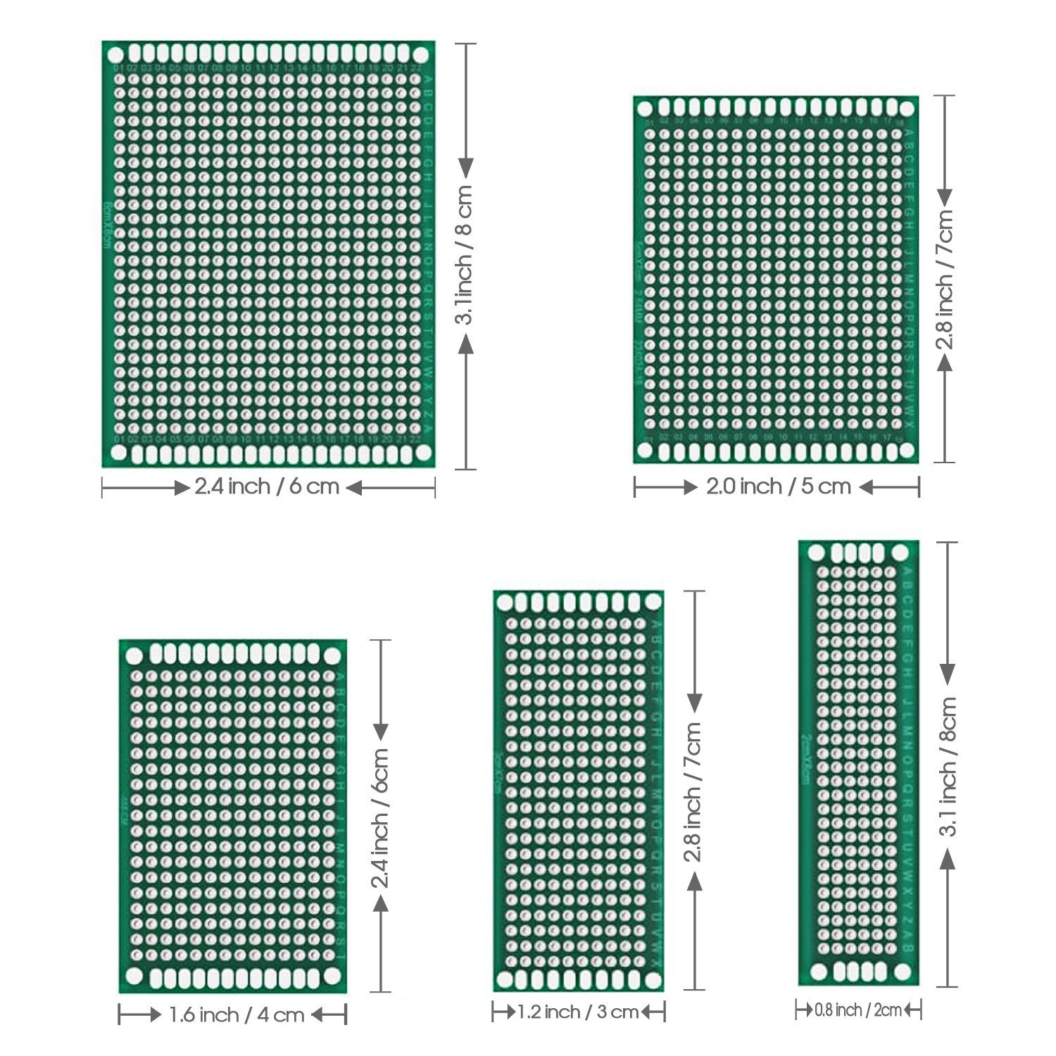 50 Pcs Double Sided Pcb Board Prototype Kit Soldering 5 Sizes Universal Printed Circuit Board For Diy And Printed Circuit Board Pcb Board Electronics Projects