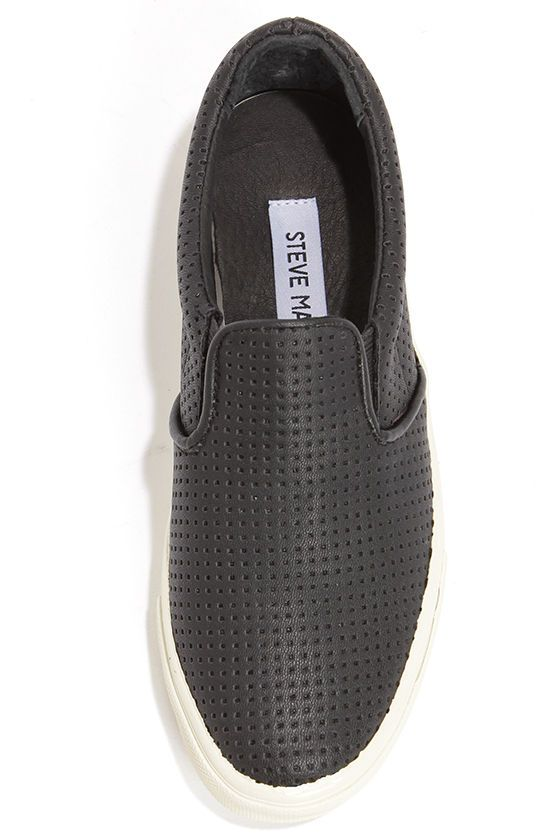 377de8b4f32 These perforations are perfect in every way! The Steve Madden Perfie Black  Slip-On Perforated Sneakers get their name from small