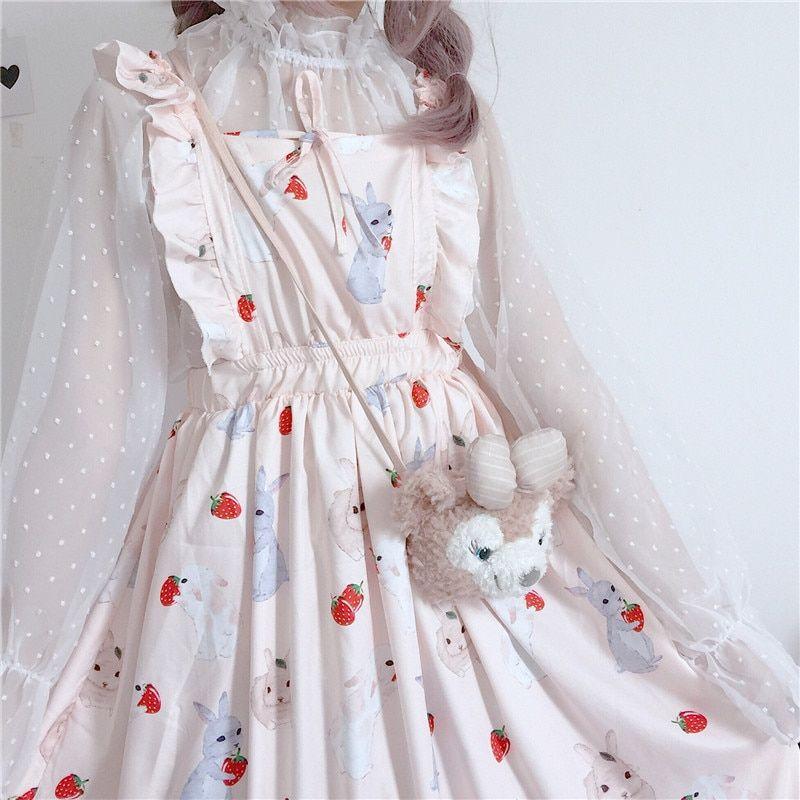 c7abf8a00 Estudante Pequeno Fresco Bonito Vestido de Alça de verão Feminino Coreano  Bonito Harajuku Ulzzang De Pano