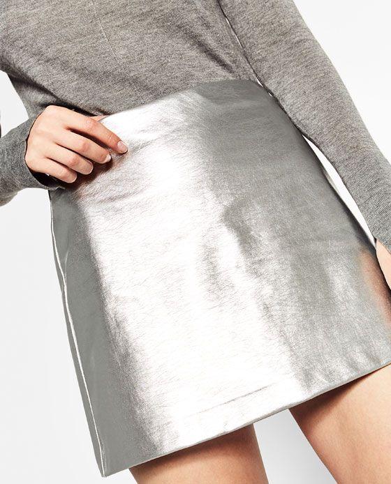 649bc2dcd4 SHORT METALLIC SKIRT from Zara | Want! in 2019 | Metallic skirt ...