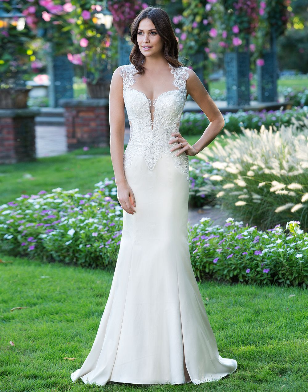 Fit and flare stretch Satin gown featuring a Queen Anne neckline ...