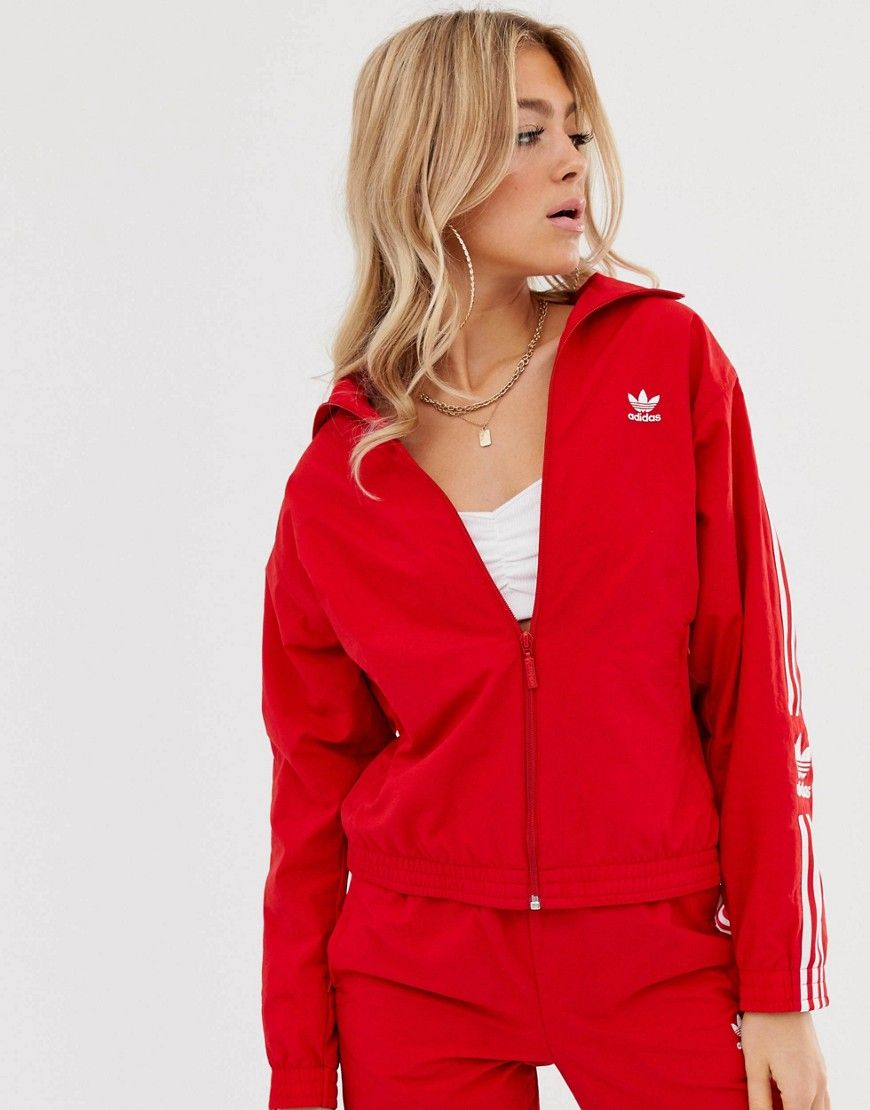 adidas Originals Locked Up logo track jacket in red
