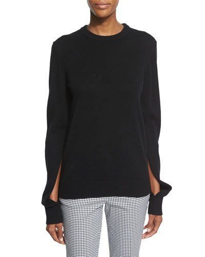 b6a5b7ed14f Michael Kors Collection Slit-Sleeve Crewneck Cashmere Sweater