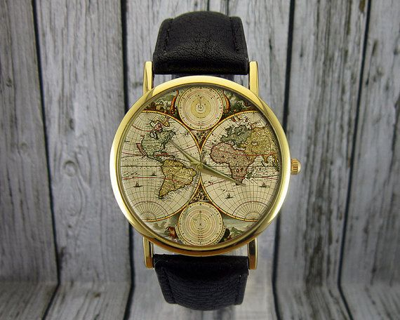 Vintage World Map Watch Retro Classic Style
