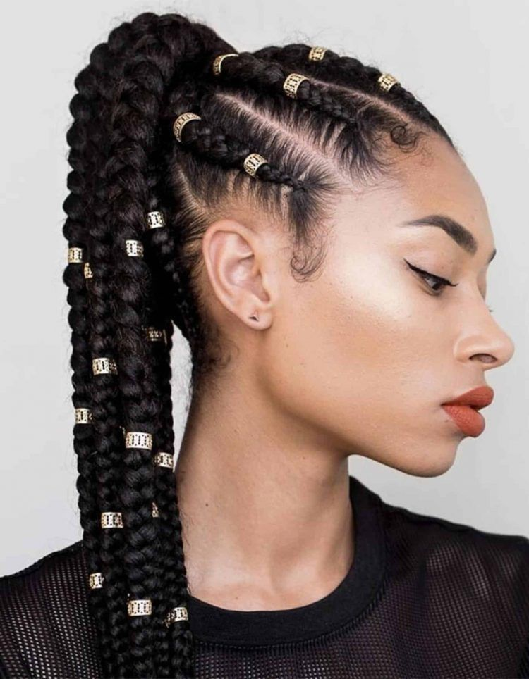 120 African Braids Hairstyle Pictures To Inspire You Thrivenaija In 2020 Braided Hairstyles Feed In Ponytail Cornrow Ponytail