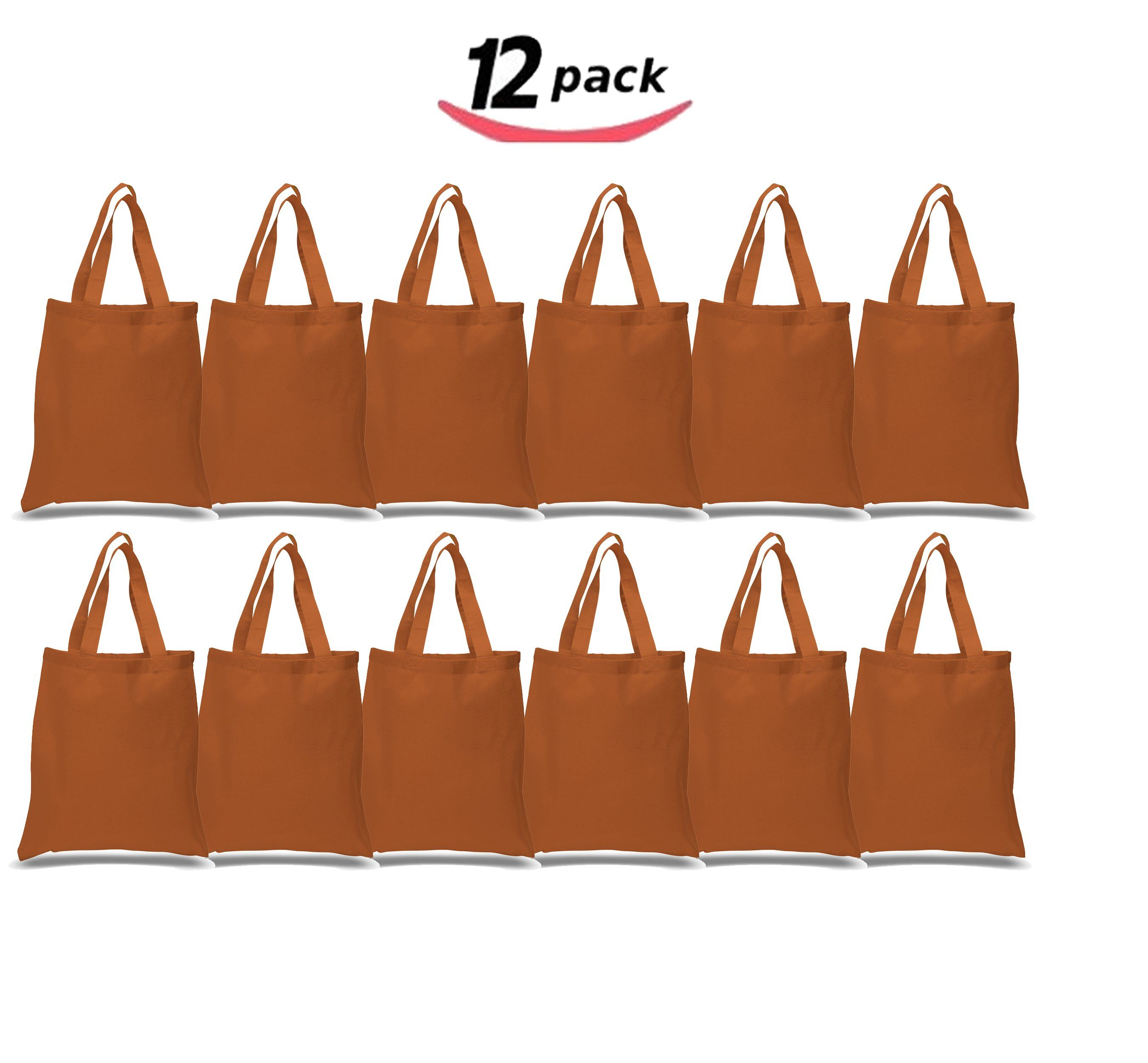 c768218e370c BagzDepot Canvas Tote Bags Wholesale - 12 Pack - Grocery Cotton Tote ...