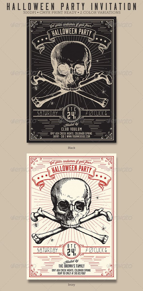 "Vintage Halloween Party Flyer / Invitation #GraphicRiver • 5""x7"" • 2 ..."