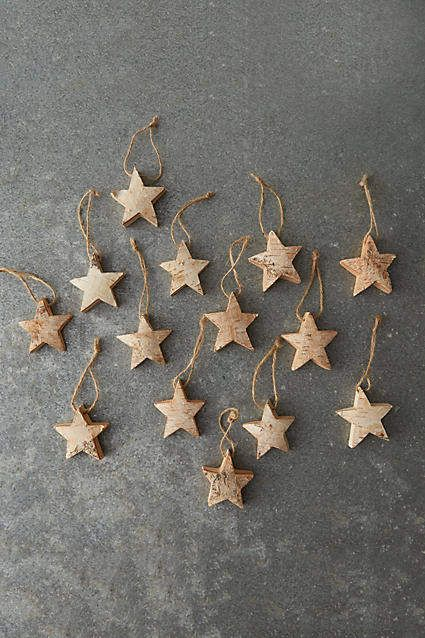 Anthropologie Birch Star Ornaments Set Of 12 Celebrate