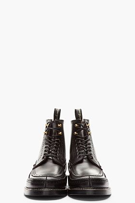 AUTHENTIC SHOE Black longwing Brogue Moccasin Boots