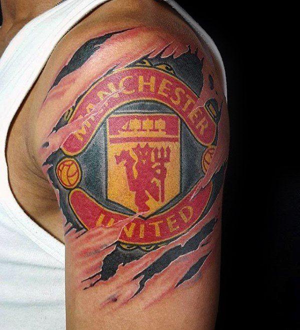 40 Manchester United Tattoo Designs For Men Soccer Ideas In 2020 Man Utd Tattoo Tattoo Designs Men Club Tattoo