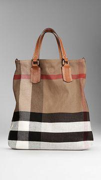 48e6e73aaa60 shopstyle.com  Medium Check Canvas Tote Bag Burberry Tote Bag