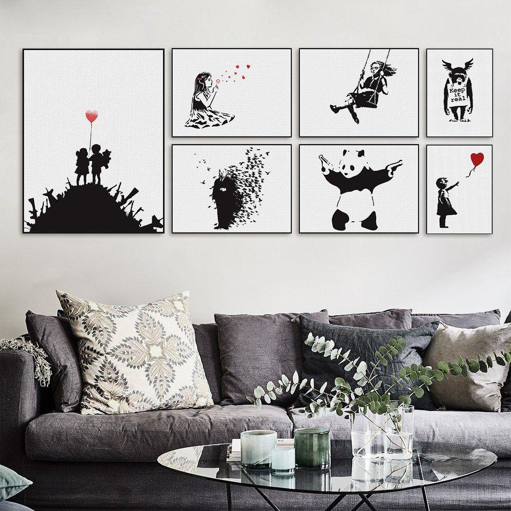 Best Modern Abstrcat Black White Banksy Hipster Pop A4 Art 640 x 480
