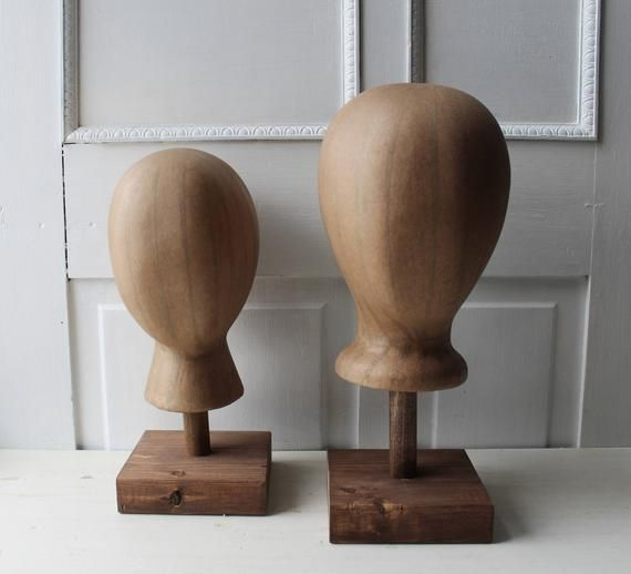 One Foam Kraft Brown Mannequin Head Hat Display W Wooden Etsy Hat Display Wooden Stand Head Display