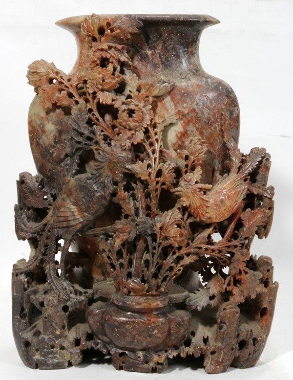 Antique Chinese Vase Soapstone Carving Antique Chinese Soapstone